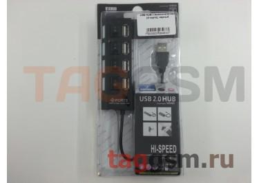USB HUB с выключателями (4 порта), черный