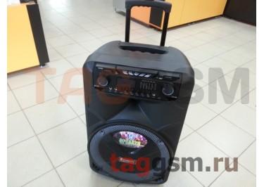 Колонка (MR-108) (Bluetooth+USB+SD+MicroSD+FM+EQ+LED+MIC+LineIn+2 BTмикрофона+дисплей) (черная)
