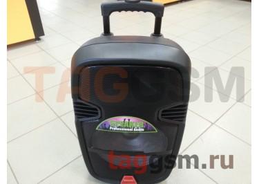 Колонка (K11-12) (Bluetooth+USB+SD+MicroSD+FM+дисплей+MIC+LineIn+LED+EQ+2 BT-микрофона) (черная)