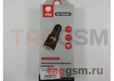 Блок питания USB (авто) на 2 порта USB 2400 / 1000mAh (черный) Ainy