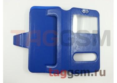 Сумка футляр-книга универсальная 4.8-5.3 дюймов с окном (синяя)