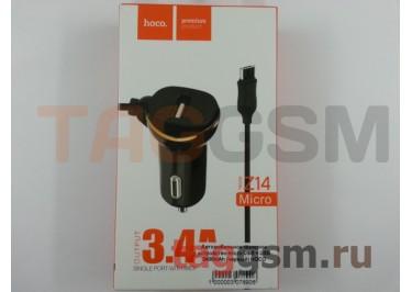 Автомобильное зарядное устройство micro USB + USB 3400mAh (черный) HOCO
