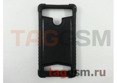 Бампер для телефона универсальный 4.5-5.0 дюймов (под кожу, черный) skinBOX