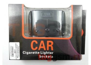 Разветвитель на 3 прикуривателя + 2 USB 1000mAh со шнуром (чёрный) (K-358)