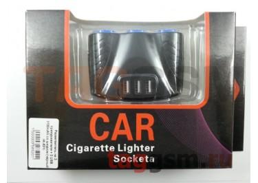 Разветвитель на 3 прикуривателя + 3 USB 3100mAh со шнуром (чёрный) (K-521)