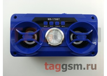 Колонка (MS-179BTch) (Bluetooth+USB+MicroSD+FM+LED+дисплей) (синяя)
