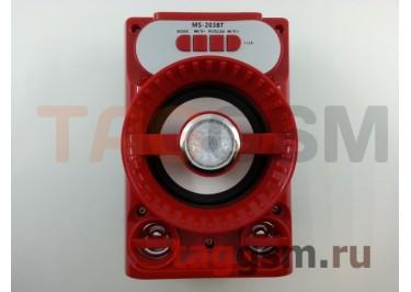 Колонка (MS-203BTch) (Bluetooth+USB+MicroSD+FM+LED) (красная)