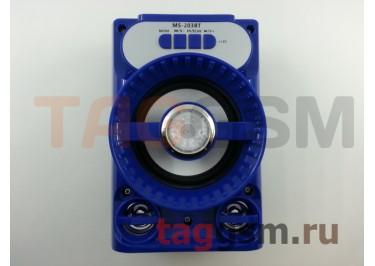 Колонка (MS-203BTch) (Bluetooth+USB+MicroSD+FM+LED) (синяя)