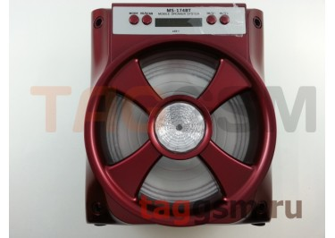 Колонка (MS-174BTch) (Bluetooth+USB+MicroSD+FM+LED+дисплей) (красная)