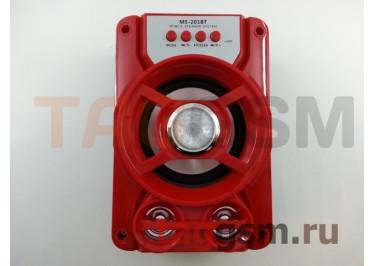 Колонка (MS-201BTch) (Bluetooth+USB+MicroSD+FM+LED) (красная)
