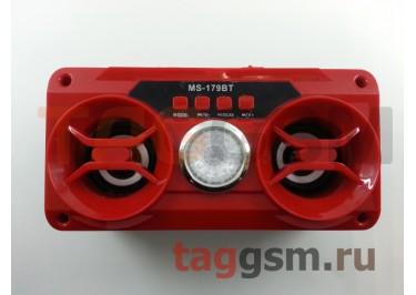Колонка (MS-179BTch) (Bluetooth+USB+MicroSD+FM+LED+дисплей) (красная)