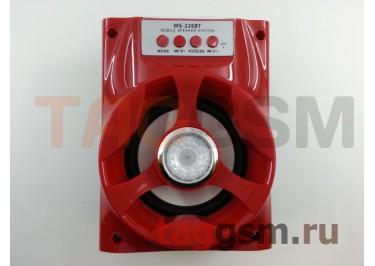 Колонка (MS-226BTch) (Bluetooth+USB+MicroSD+FM+LED+дисплей) (красная)