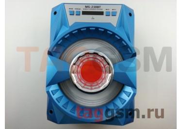 Колонка (MS-238BTch) (Bluetooth+USB+MicroSD+FM+LED+дисплей) (голубая)