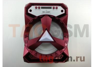 Колонка (MS-240BTch) (Bluetooth+USB+MicroSD+FM+LED+дисплей) (красная)