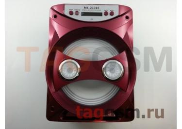Колонка (MS-237BTch) (Bluetooth+USB+MicroSD+FM+LED+дисплей) (красная)