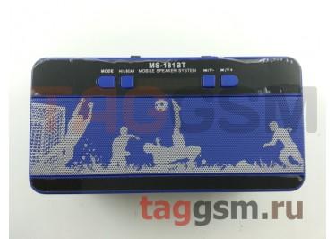 Колонка (MS-181BTch) (Bluetooth+USB+MicroSD+FM+LED+дисплей) (голубая)