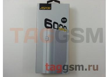 Портативное зарядное устройство (Power Bank) (Aspor A343, 2USB выхода 1000mAh  /  1000mAh) Емкость 6000mAh (черный)