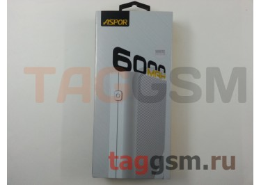 Портативное зарядное устройство (Power Bank) (Aspor A343, 2USB выхода 1000mAh  /  1000mAh) Емкость 6000mAh (белый)