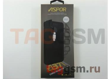 Портативное зарядное устройство (Power Bank) (Aspor A371, 2USB выхода 1000mAh  /  1000mAh с разъемом зарядки iPhone 5 / 6 / 7, micro USB) Емкость 4000mAh (белый)