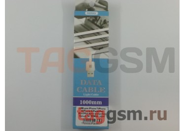 USB для iPhone 7 / iPhone 6 / iPhone 5 / iPad4 / iPad Mini / iPod Nano (в коробке) белый 1м, REMAX LIGHT CABLE