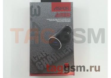 Автомобильное зарядное устройство USB 3400mAh 2 выхода USB, (A918) ASPOR (красный)