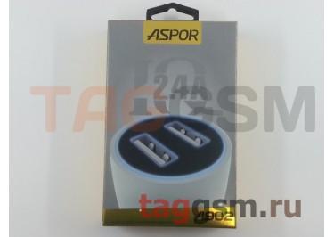 Автомобильное зарядное устройство USB 2400mAh 2 выхода USB, (A902) ASPOR