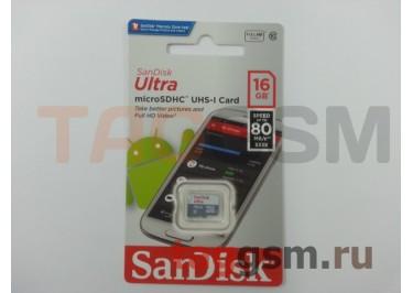 Micro SD 16Gb SanDisk Class 10 UHS-I 80Mb / s без адаптера