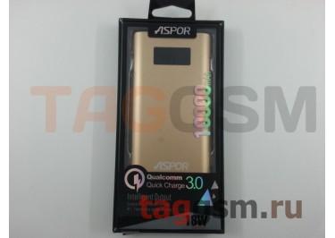Портативное зарядное устройство (Power Bank) (Aspor Q388, 2USB выхода 2400mAh  /  3000mAh) Емкость 10000mAh (золото)