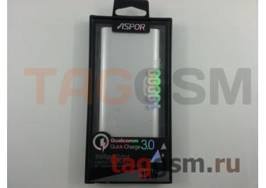 Портативное зарядное устройство (Power Bank) (Aspor Q388, быстрая зарядка 9V 2A, 2USB выхода 2400mAh  /  3000mAh) Емкость 10000mAh (серебро)
