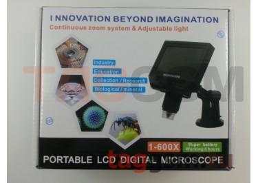 Микроскоп G600+ (портативный, цифровой, с ЖК экраном, 1-600X, 3.6MP, металлический кронштейн-стол)