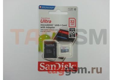 Micro SD 32Gb SanDisk Class 10 UHS-I 80Mb / s с адаптером SD