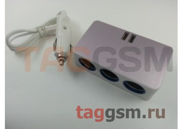 Разветвитель на 3 прикуривателя + 2 USB со шнуром (розовый) (ZX-528)