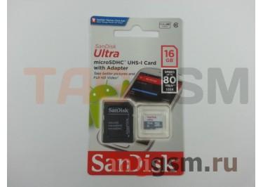 Micro SD 16Gb SanDisk Class 10 UHS-I 80Mb / s с адаптером