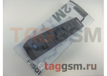 Сетевой фильтр Aspor (A501) 2.0 м, 3 розетки + 4 USB 3.1A (черный)