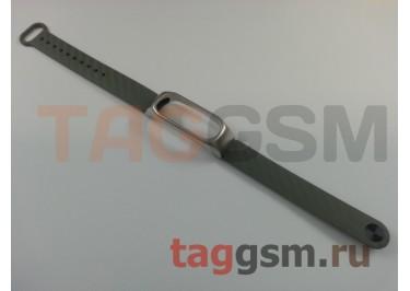 Браслет для Xiaomi Mi Band 2 (с металлическим ободком, серый)