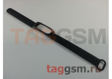 Браслет для Xiaomi Mi Band 2 (с металлическим ободком, черный)