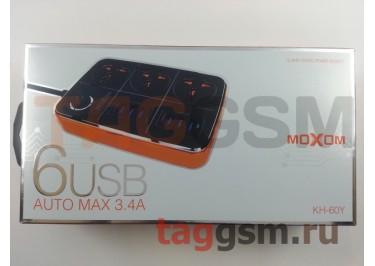 Сетевой фильтр MOXOM (KH-60Y) 1.5 м, 3 розетки + 6 USB 3.4A (черный)