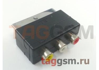 Переходник SCART - 3xRCA (черный) Perfeo A7007