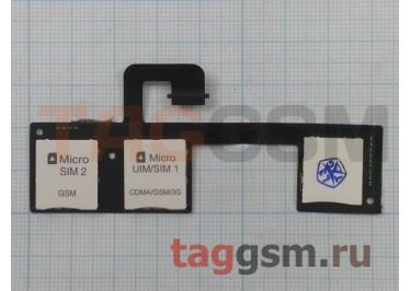 Шлейф для HTC One M7 Dual + считыватель сим + слот карты памяти